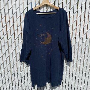Y2k Navy Lasenza Celestial Moon & Stars Pyjama Long Sleeved Shirt